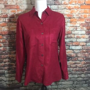 Chico's Red Polyester Button Down Size 1